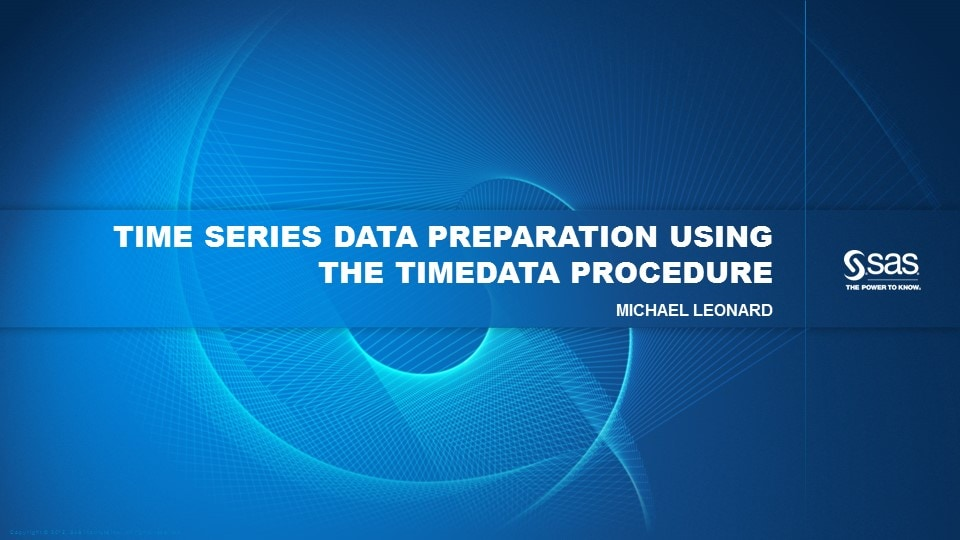Time Series Data Preparation Using the TIMEDATA Procedure