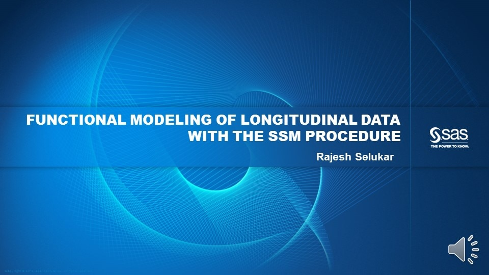 Functional Modeling of Longitudinal Data with the SSM Procedure